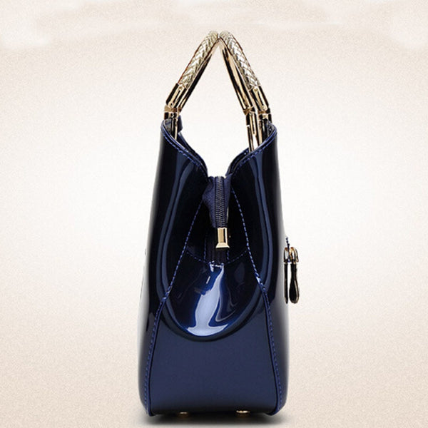 Luxurious Handbag with Double Metal Handles - Sapphire Blue - Side