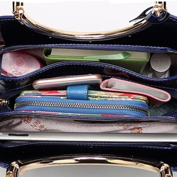 Luxurious Handbag with Double Metal Handles - Sapphire Blue - Inside View