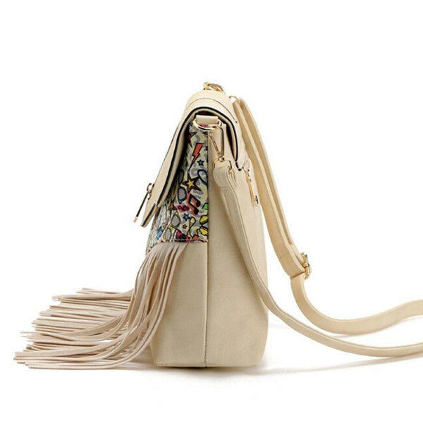Messenger Shoulder Bag with Tassel Detail and Aztec Geometric Print - White - Side