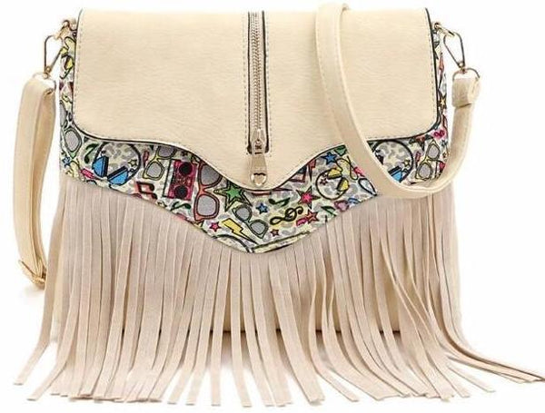 Messenger Shoulder Bag with Tassel Detail and Aztec Geometric Print - White