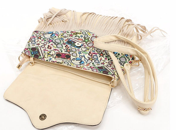 Messenger Shoulder Bag with Tassel Detail and Aztec Geometric Print - White - Open