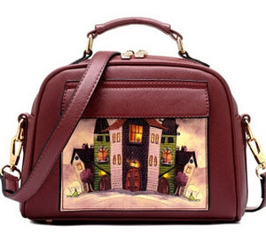 Cute Handbag, Crossbody Bag with Artistic Image Applique - Red