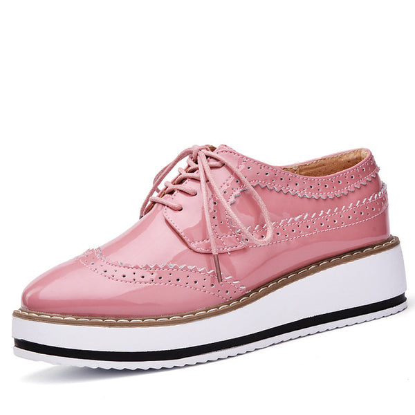 Patent Leather Oxford Flats - Pink