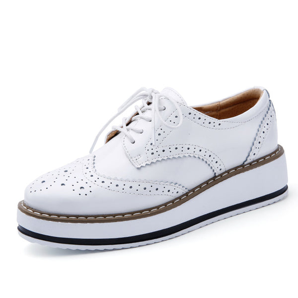 Patent Leather Oxford Flats - White