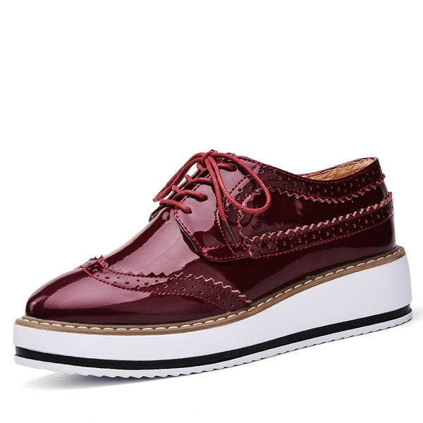 Patent Leather Oxford Flats - Wine Red