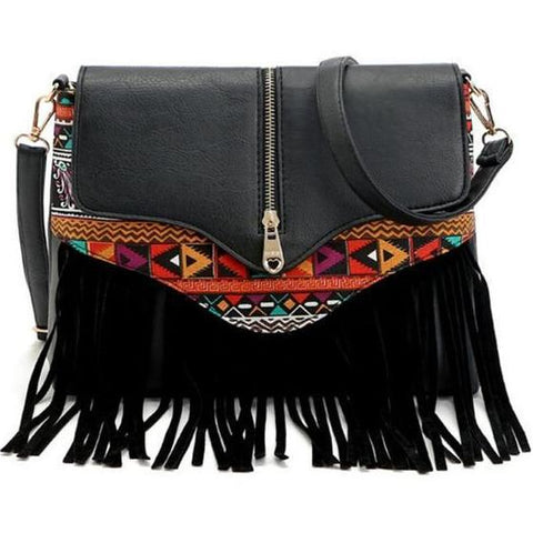 Messenger Shoulder Bag with Tassel Detail and Aztec Geometric Print - Black