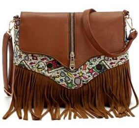 Messenger Shoulder Bag with Tassel Detail and Aztec Geometric Print - Brown
