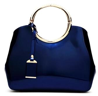 Luxurious Handbag with Double Metal Handles - Sapphire Blue