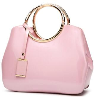 Luxurious Handbag with Double Metal Handles - Pink