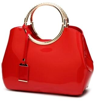 Luxurious Handbag with Double Metal Handles - Red