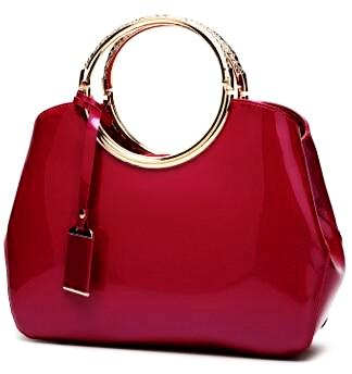 Luxurious Handbag with Double Metal Handles - Rose Red