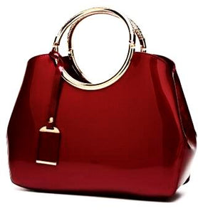 Luxurious Handbag with Double Metal Handles - Wine Red