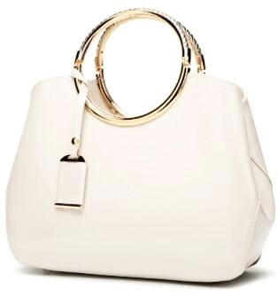 Luxurious Handbag with Double Metal Handles - Off-White
