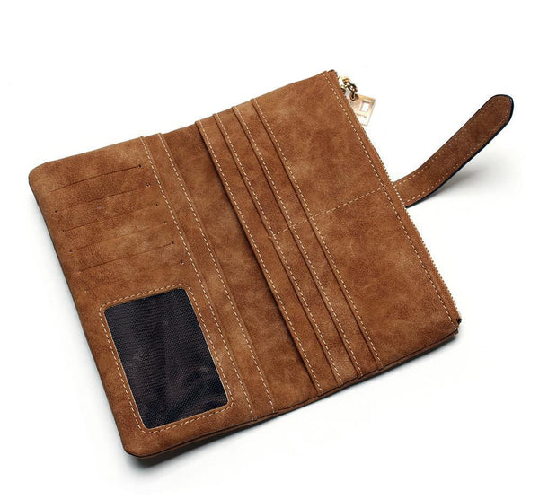 Large Two Fold Faux Nubuck Leather Wallet Clutch - Caramel - Interior