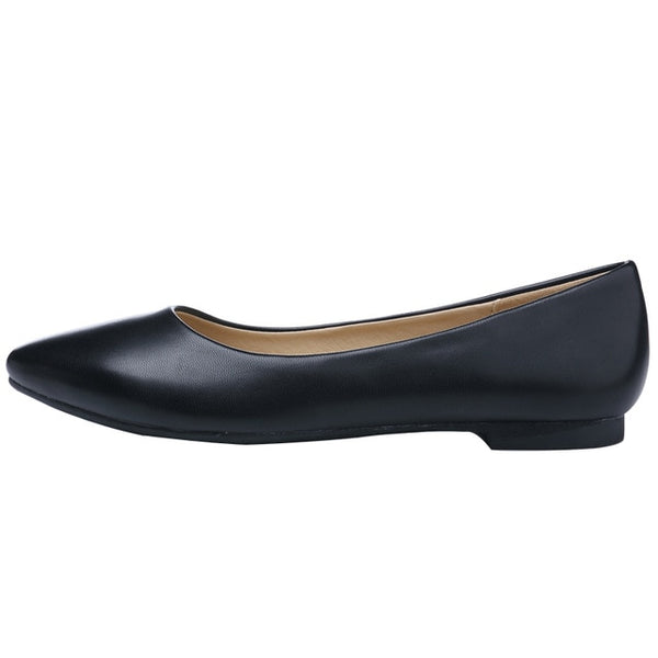 Simple Classic Pointed Toe Flats - Black