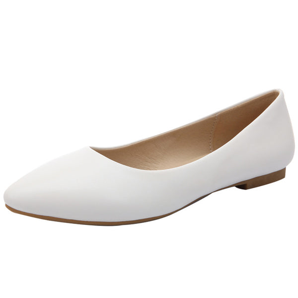 Simple Classic Pointed Toe Flats - White