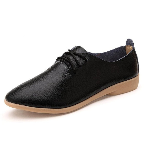 Women's Lace-up Casual Flats - Black