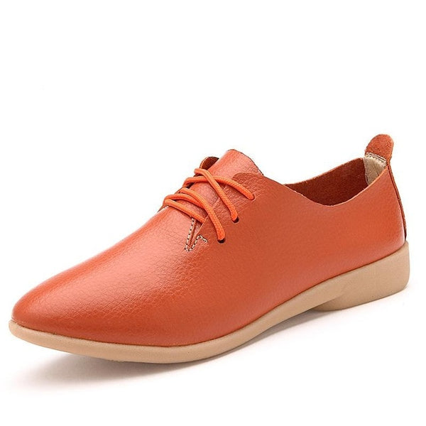 Women's Lace-up Casual Flats - orange