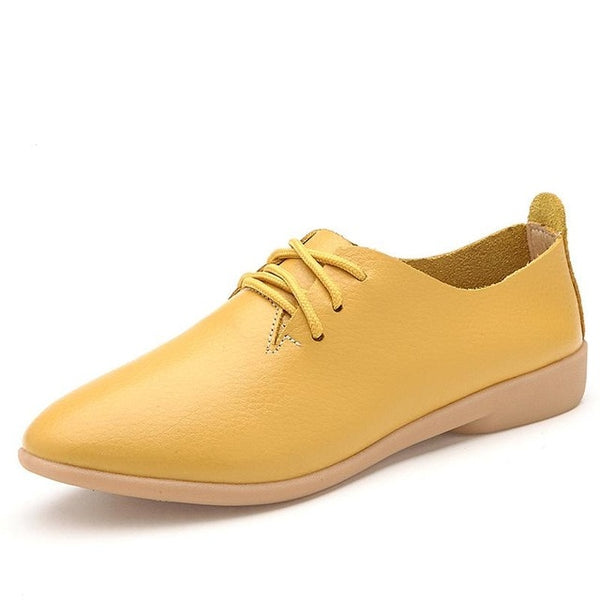 Women's Lace-up Casual Flats - yellow