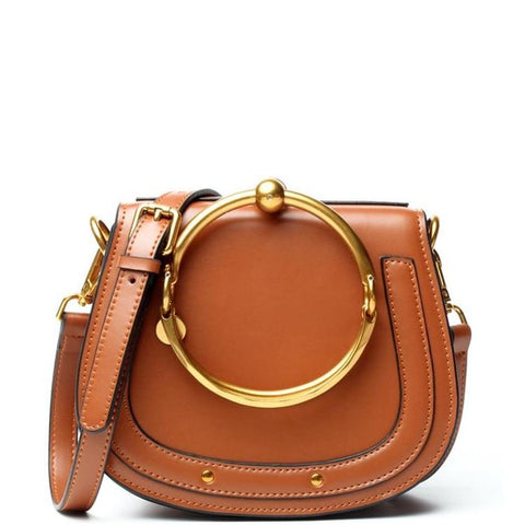 Gorgeous Genuine Leather shoulder Bag with Gold Metal and Stitched Accents - Brown