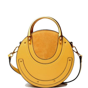 Genuine Leather Shoulder Bag with Gold Metal Handles - Yellow