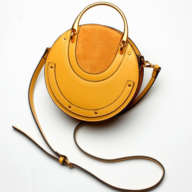 Genuine Leather Shoulder Bag with Gold Metal Handles - Yellow - Flat