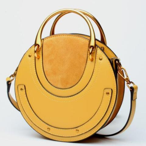 Genuine Leather Shoulder Bag with Gold Metal Handles - Yellow - Front Side