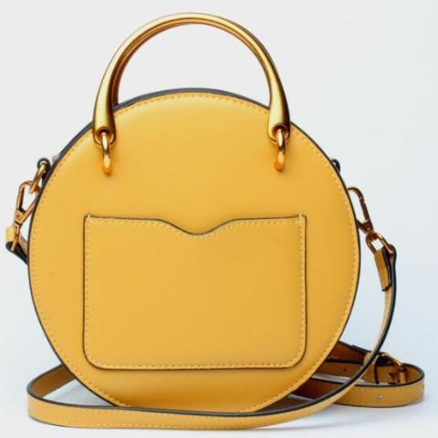 Genuine Leather Shoulder Bag with Gold Metal Handles - Yellow - Back