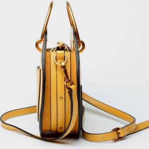 Genuine Leather Shoulder Bag with Gold Metal Handles - Yellow - Side