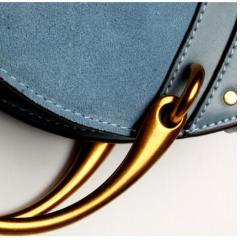 Genuine Leather Shoulder Bag with Gold Metal Handles - Blue - Zoom in