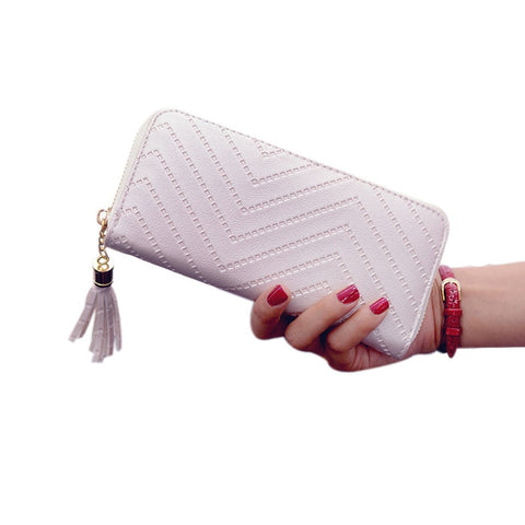 Large Faux Leather Wallet with Fringe Tassel Detail - White