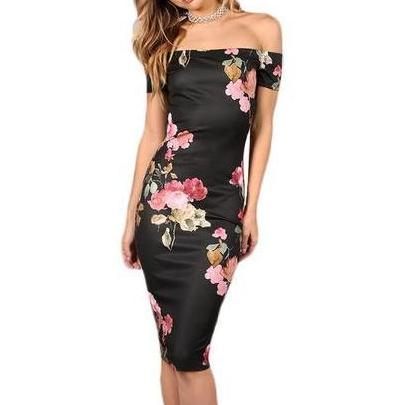 Elegant Sexy Black Off-The Shoulder Dress with Floral Print