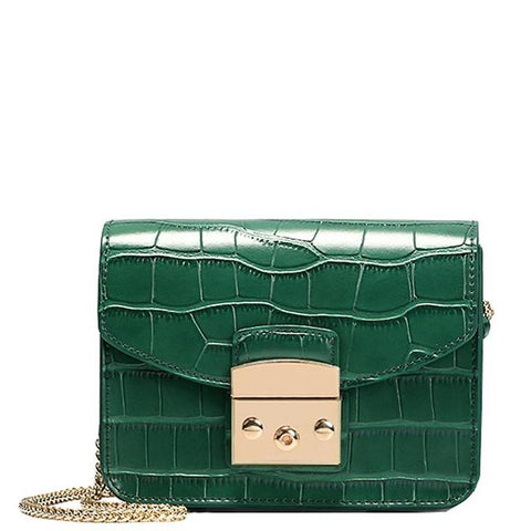 Designer Crocodile Pattern Handbag with Chain Strap - Green