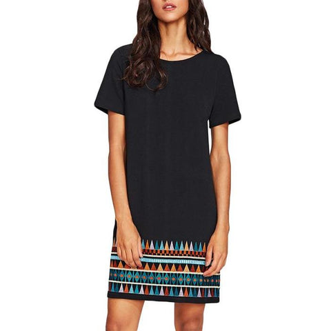 Short Black A-Line Dress with Aztec Embroidered Hem