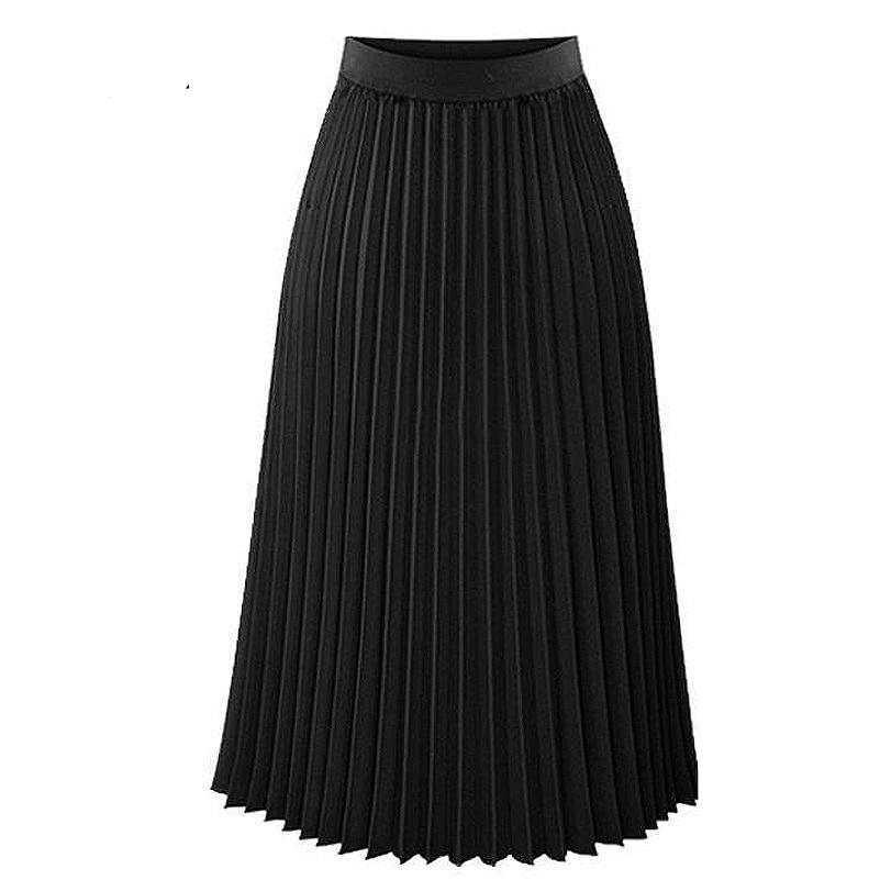 High Waist Pleated Mid Length Skirt - Black