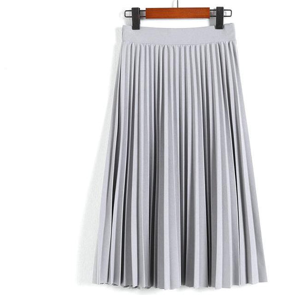 High Waist Pleated Mid Length Skirt - Grey