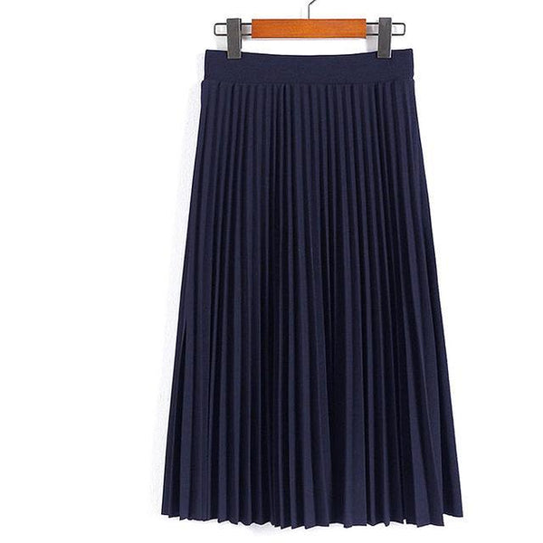 High Waist Pleated Mid Length Skirt - Navy