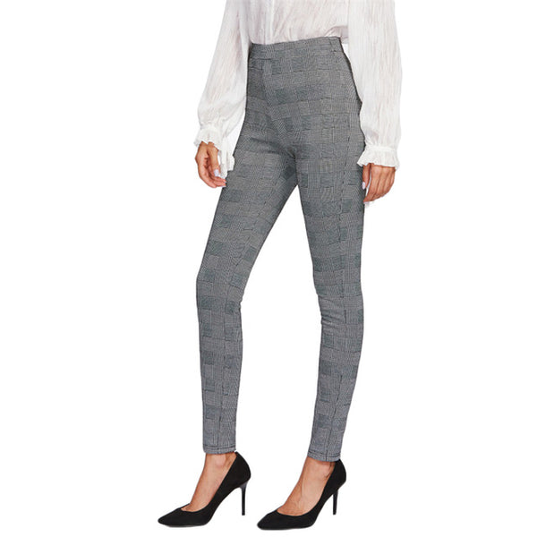 High Waist Stretchy Skinny Pants - Grey Plaid