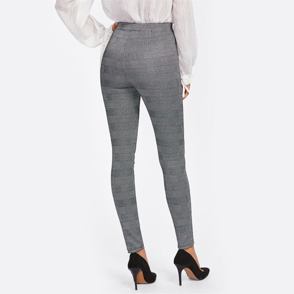 High Waist Stretchy Skinny Pants - Grey Plaid - Back