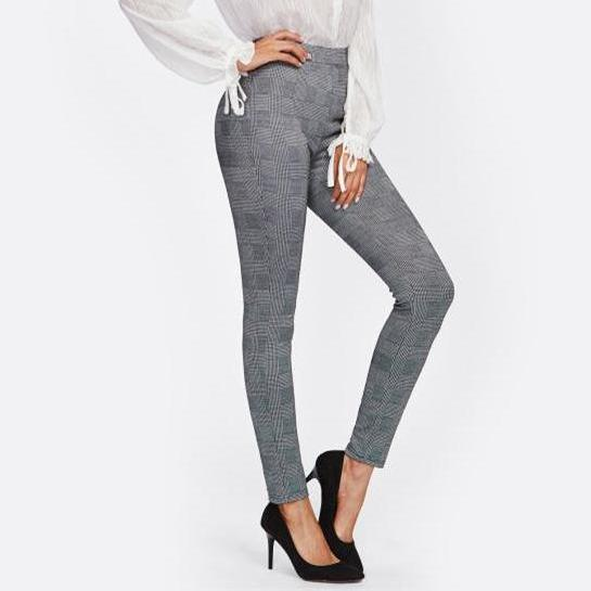 High Waist Stretchy Skinny Pants - Grey Plaid - Side