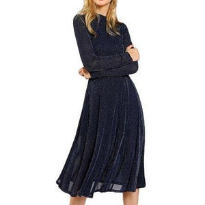 Elegant Long Sleeve Dress with Stand Collar - Navy Blue