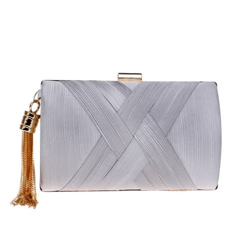 Elegant Evening Clutch Bag with Tassel Detail - Rectangle - Silver