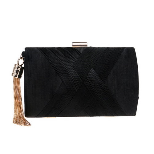 Elegant Evening Clutch Bag with Tassel Detail - Rectangle - Black