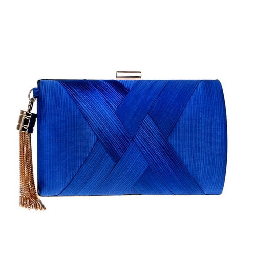 Elegant Evening Clutch Bag with Tassel Detail - Rectangle - Blue