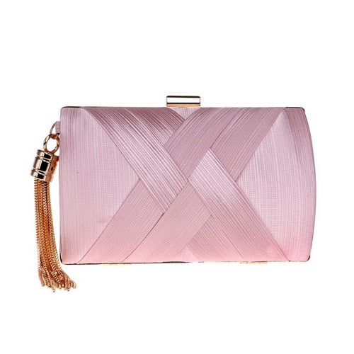 Elegant Evening Clutch Bag with Tassel Detail - Rectangle - Pink