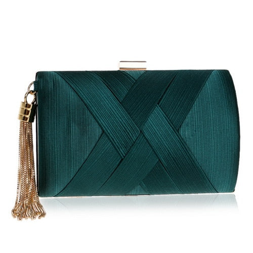 Elegant Evening Clutch Bag with Tassel Detail - Rectangle - Green