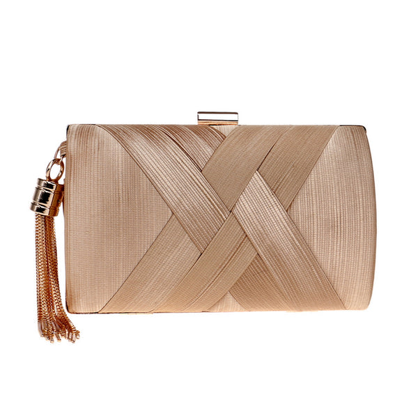 Elegant Evening Clutch Bag with Tassel Detail - Rectangle - Gold