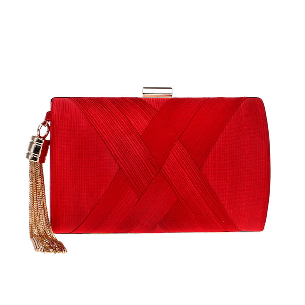 Elegant Evening Clutch Bag with Tassel Detail - Rectangle - Red