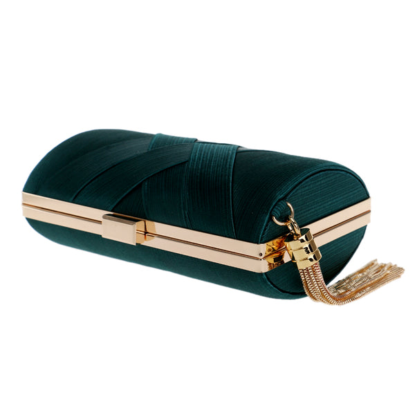 Elegant Evening Clutch Bag with Tassel Detail - Rectangle - Green - Flat