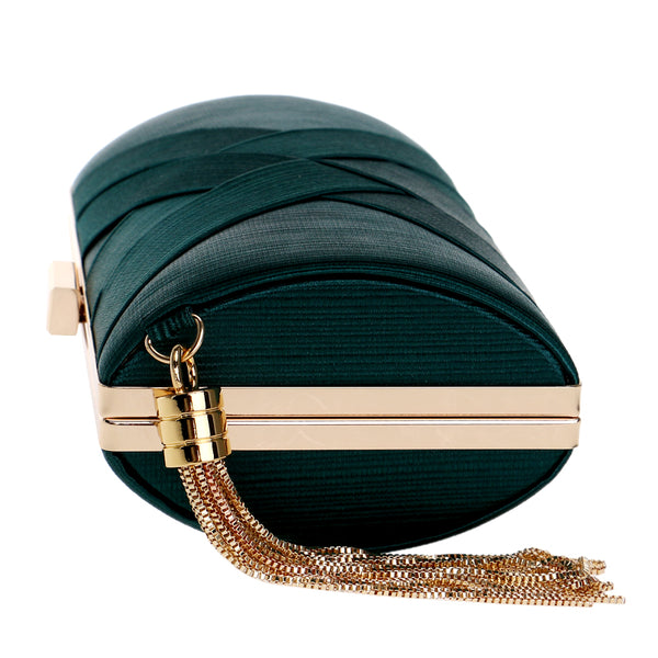 Elegant Evening Clutch Bag with Tassel Detail - Rectangle - Green - Side